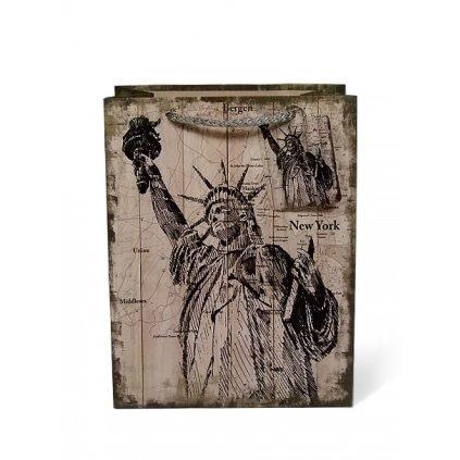 Darčeková taška - Socha slobody (Farba Svetlohnedá, Veľkosť 23x17cm)