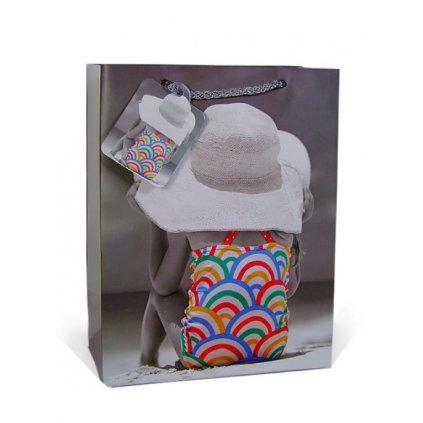 Darčeková taška dievčatko s klobúkom - 17x23 cm (Farba Šedá, Veľkosť 23x17cm)