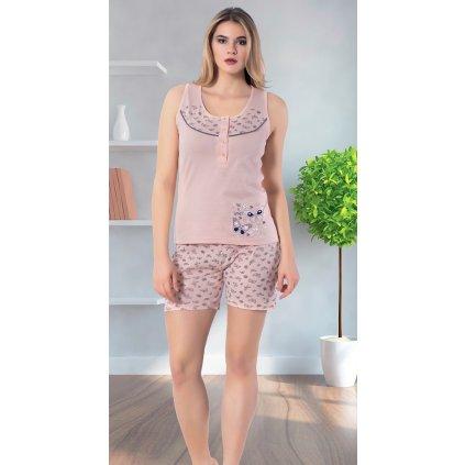 Dámske pyžamo - motýliky (Farba Svetloružová, Veľkosť M)