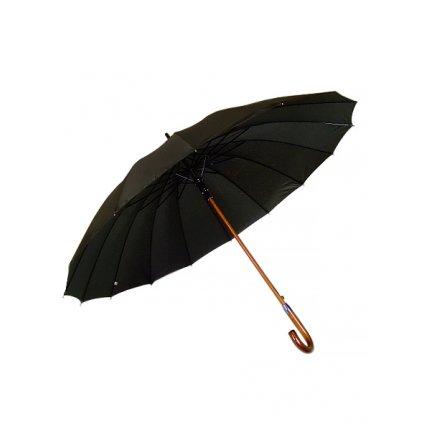 Pánsky dáždnik Feeling Rain čierny, drevená rúčka (Farba Čierna, Veľkosť 92cm)