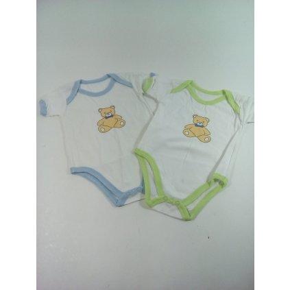 Detské, kojenecké body - macko biele chlapčenské (Farba Svetlozelená, Veľkosť 3-6m)