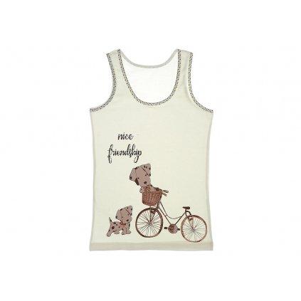 Detské tielko - psík na bicykli (Farba Multifarebné, Veľkosť 0-1r)
