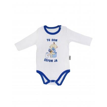 Chlapčenské kojenecké body - tu som šéfom ja (Farba Tyrkysová, Veľkosť 3m)