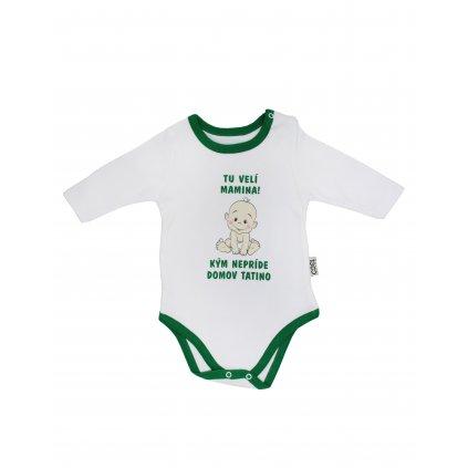 Chlapčenské kojenecké body - tu velí mamina (Farba Tyrkysová, Veľkosť 3m)