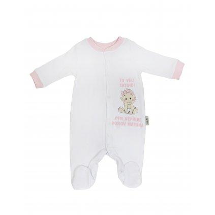 Dievčenský kojenecký overal - tu velí tatino (Farba Tmavoružová, Veľkosť 3m)
