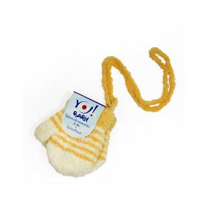Kojenecké rukavice so šnúrkou - prúžkové (Farba Oranžová, Veľkosť 10cm)