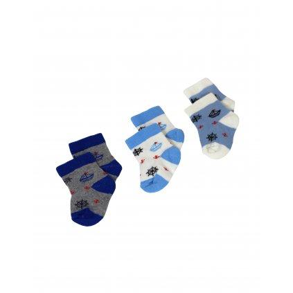 Kojenecké ponožky 3ks - námornické, 3 kusy v balení (Farba Multifarebné, Veľkosť 0-6m)