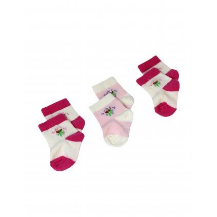 Kojenecké ponožky 3ks - kvetinky, 3 kusy v balení (Farba Multifarebné, Veľkosť 0-6m)