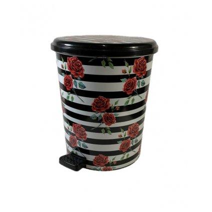 Odpadkový kôš 15L Ruže, PoloTrade (Farba Čierna, Veľkosť 15L)