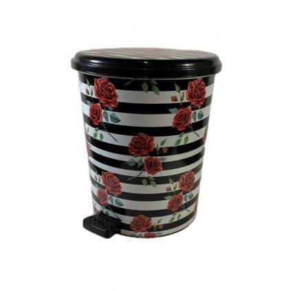 Odpadkový kôš 10L Ruže, PoloTrade (Farba Čierna, Veľkosť 10L)