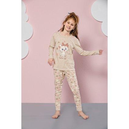 Dievčenské pyžamo mačka (Farba Krémová, Veľkosť 4/5r)