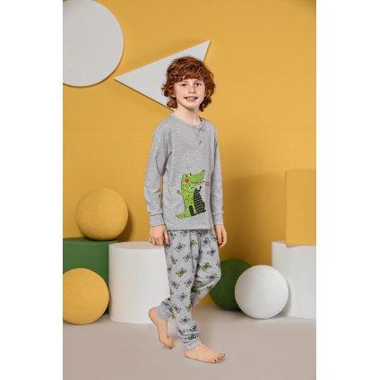 Chlapčenské pyžamo krokodíl (Farba Svetlošedá, Veľkosť 2/3r)
