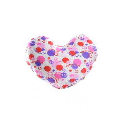 Vankúš srdce,guličky 30x26 cm, PoloTrade (Farba Biela, Veľkosť 30x26CM)