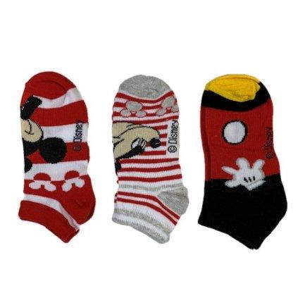 Detské ponožky Mickey červené 3ks, 3 kusy v balení (Farba Multifarebné, Veľkosť 23-26)