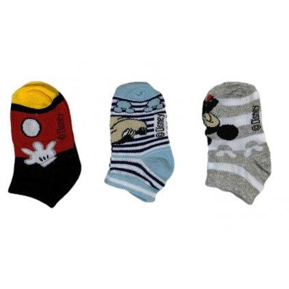 Detské ponožky Mickey šedé 3ks, 3 kusy v balení (Farba Multifarebné, Veľkosť 23-26)