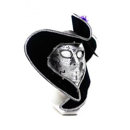 Trblietavá maska s klobúkom Venezia 27x20cm (Farba Strieborná, Veľkosť Neurčená)