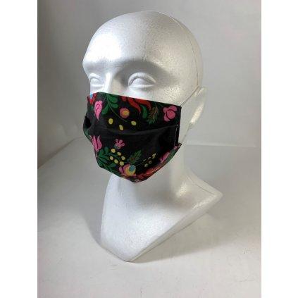 Bavlnené rúško kvety-gumička za uši (Farba Čierna, Veľkosť UNI)