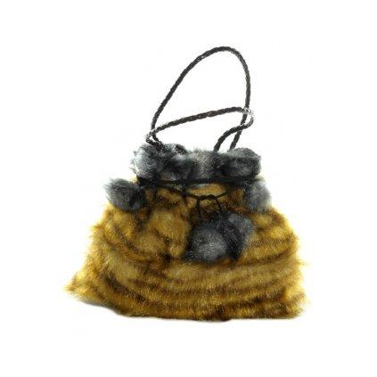 Dámska malá taška - chlpatá s brmbolcami (Farba Hnedá, Veľkosť 1757 - 25*22CM)
