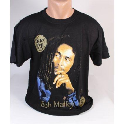 Tričko Bob Marley, zlatý nápis (Farba Čierna, Veľkosť M)