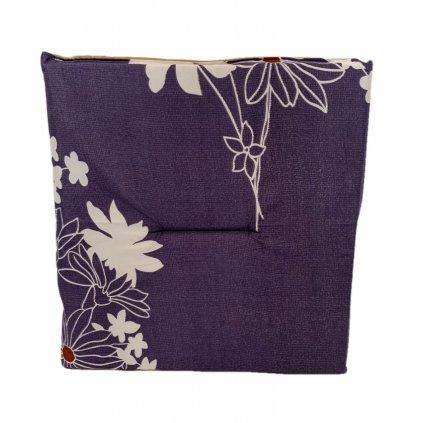 Jednostranný sedák fialový-kvety, PoloTrade (Farba Fialová, Veľkosť 1761 - 37*37CM)