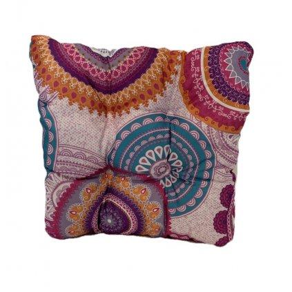 Obojstranný  hrubý sedák etno vzor, PoloTrade (Farba Ružová, Veľkosť 1763 - 35*35*6)
