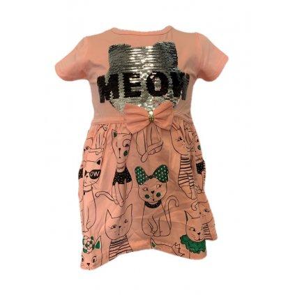 Dievčenské šaty mačka meow (Farba Svetloružová, Veľkosť 98)