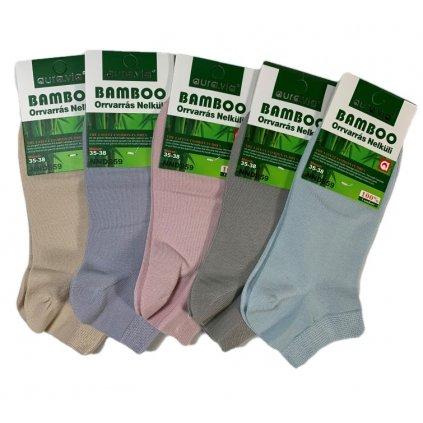 Dámske jednofarebné členkové ponožky bambusové (Farba Krémová, Veľkosť 35-38)