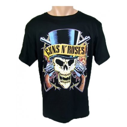 Tričko Guns N' Roses - Lebka v klobúku, obojstranná potlač (Farba Čierna, Veľkosť S)
