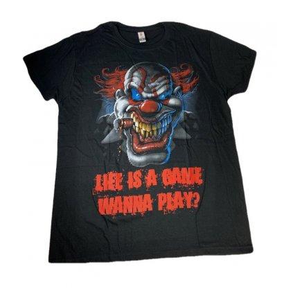 Pánske tričko PoloTrade Klaun - Life is a game wanna play? (Farba Čierna, Veľkosť L)