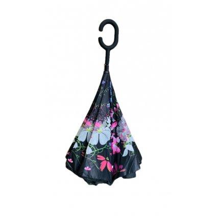 Obrátený dáždnik čierny - kvety 80cm (Farba Čierna, Veľkosť 80cm)