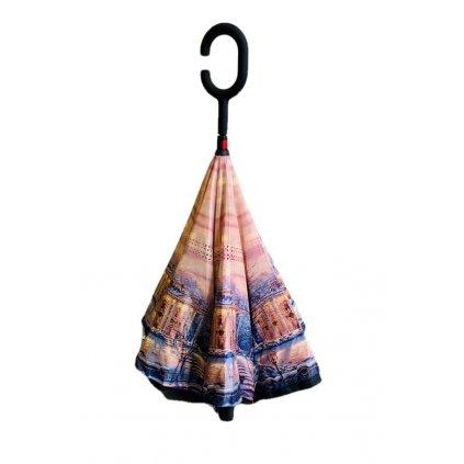 Obrátený dáždnik zasnežená krajina (Farba Svetlohnedá, Veľkosť 80cm)