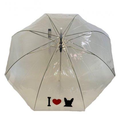 Dáždnik priehľadný I Love Dog 82cm, P100cm (Farba Transparent, Veľkosť 82cm)