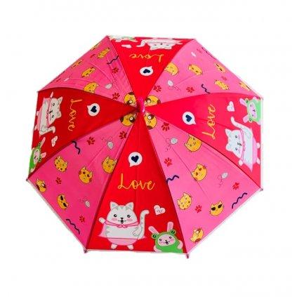 Dáždnik detský mačka 66cm (Farba Tmavoružová, Veľkosť 66cm)