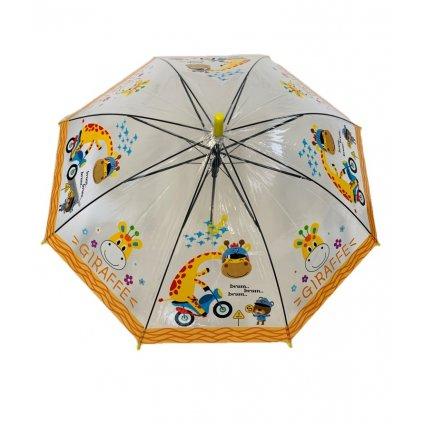 Dáždnik detský žirafa na motorke 66cm (Farba Žltá, Veľkosť 66cm)