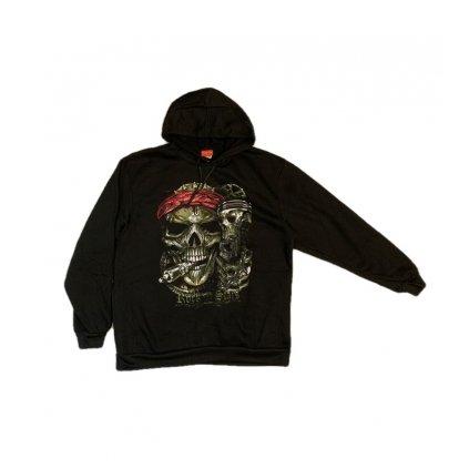 Mikina s kapucňou ROCK STARS (Farba Čierna, Veľkosť XL)