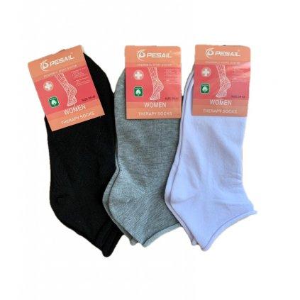 Dámske členkové jednofarebné ponožky - zdravotné (Farba Šedá, Veľkosť 1765 - 35-39)