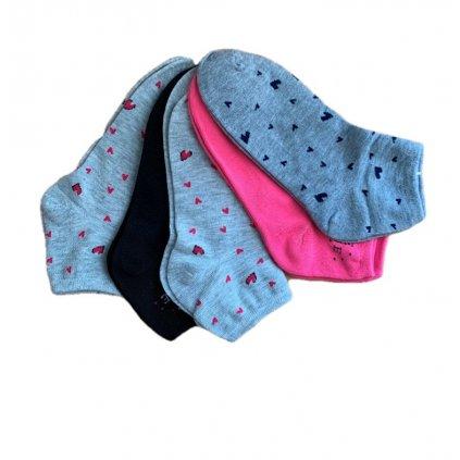 Dámske členkové ponožky 5ks - šedé, 5 kusov v balení (Farba Multifarebné, Veľkosť 1765 - 35-39)