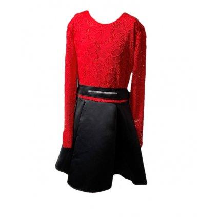 Dievčenské šaty - koženková sukňa (Farba Červená, Veľkosť 128)