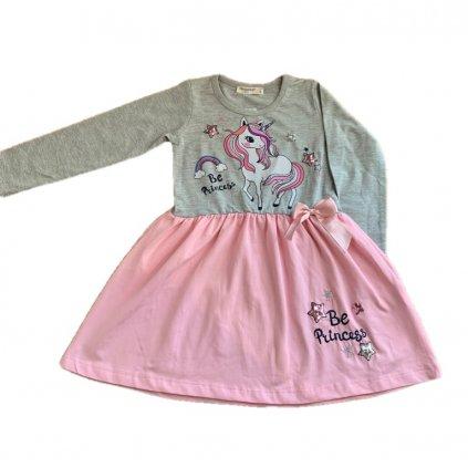 Dievčenské šaty - Be princess unicorn (Farba Šedá, Veľkosť 92)