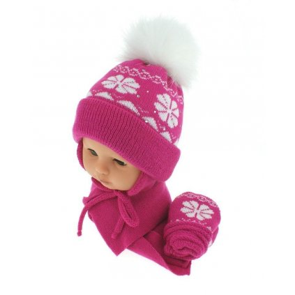 Detský set čiapka - vločka (Farba Svetlofialová, Veľkosť 40-42)