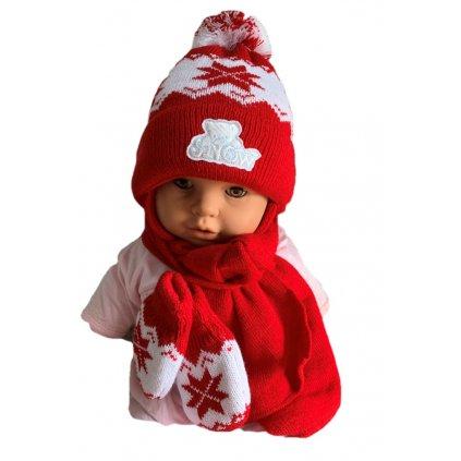Detský set čiapka - hviezda (Farba Červená, Veľkosť 40-42)