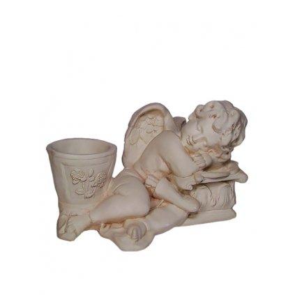 Anjel ležiaci s kochlíkom (Farba Krémová, Veľkosť 19cm)