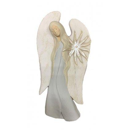 Anjel plochý na stenu (Farba Biela, Veľkosť 28cm)