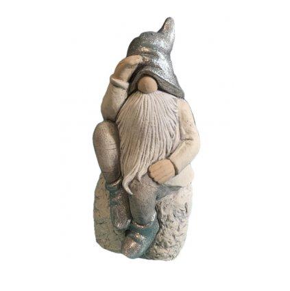 Trpaslík na kameni (Farba Svetlošedá, Veľkosť 29cm)