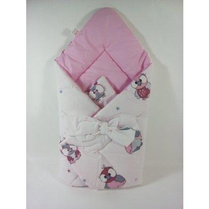 Perinka s mašľou pre bábätka-sovičky (Farba Svetloružová, Veľkosť 75x75cm)