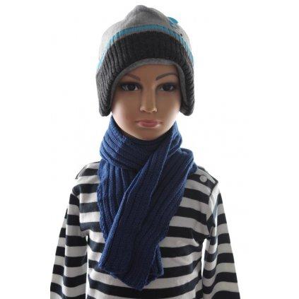 Detský šálik - rebrovaný modrý (Farba Neurčená, Veľkosť Neurčená)