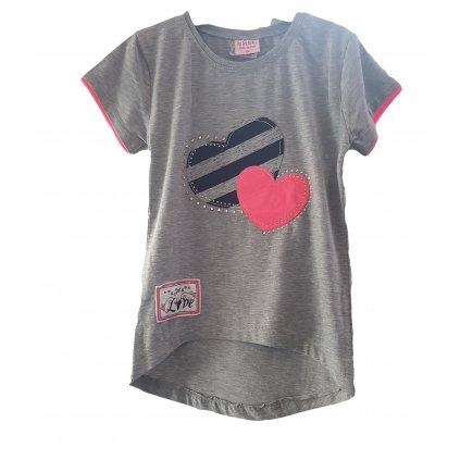 Dievčenské predĺžené tričko srdce