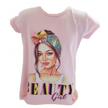 Dievčenské 3D tričko s mašľou a perlou