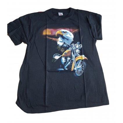 Pánske tričko PoloTrade Orol a motorka pri západe slnka