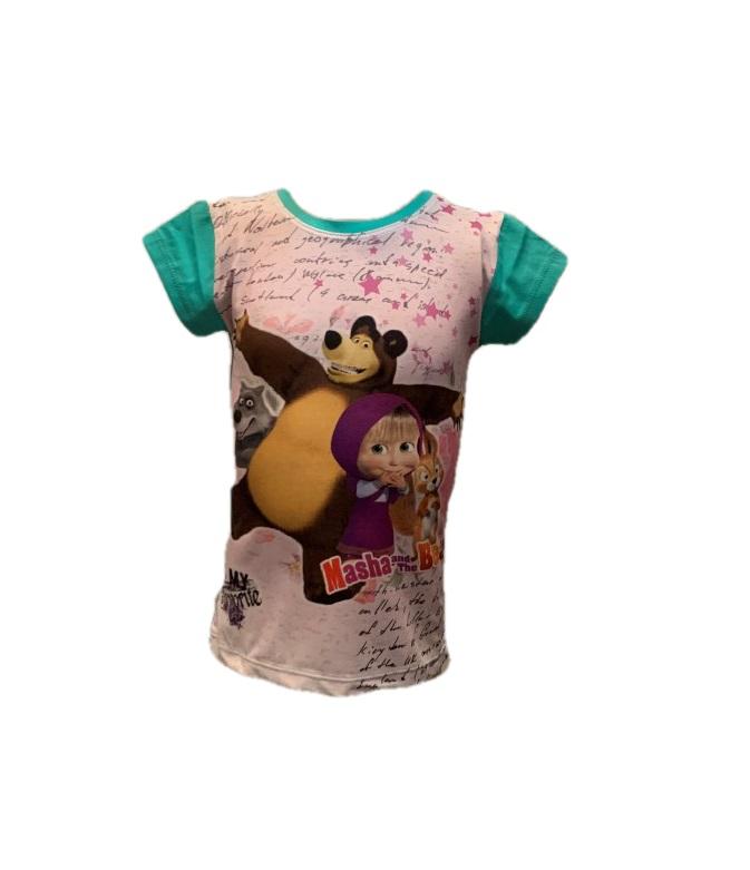 Dievčenské tričko - Máša a medveď Farba: Tmavoružová, Veľkosť: 122
